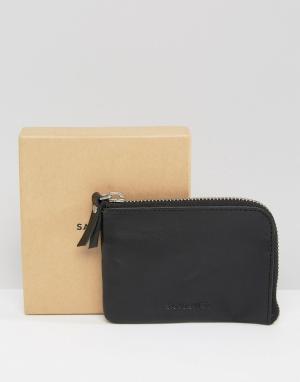 Черный кожаный бумажник Penny Sandqvist. Цвет: черный