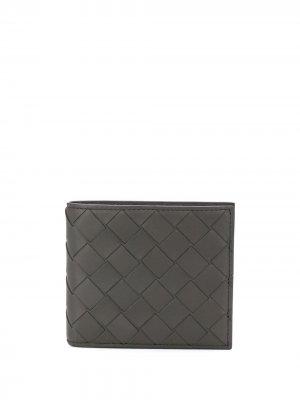 Бумажник с плетением Intrecciato Bottega Veneta. Цвет: серый