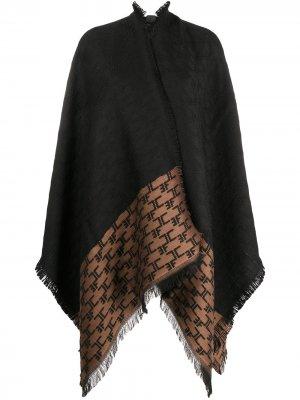 Драпированный пальто-кардиган асимметричного кроя Elisabetta Franchi. Цвет: черный