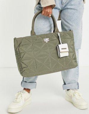 Зеленая стеганая сумка-тоут -Зеленый цвет River Island