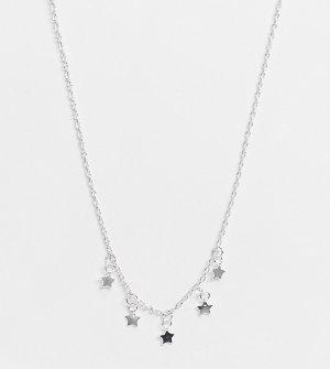Ожерелье-чокер из стерлингового серебра с подвесками в виде звезд -Серебристый Kingsley Ryan Curve