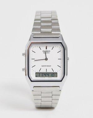 Цифровые часы-браслет в стиле унисекс AQ-230A-7DMQ Unisex-Серебряный Casio