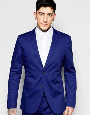 Пиджак слим кобальтово-синего цвета Sisley. Цвет: синий