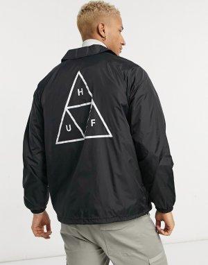 Черная спортивная куртка с принтом тройного треугольника Essentials-Черный цвет HUF