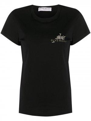 Укороченная футболка с логотипом Givenchy. Цвет: черный