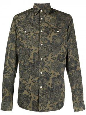 Рубашка с цветочным принтом Hydrogen. Цвет: зеленый