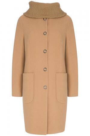 Пальто с отделкой трикотажем Elema
