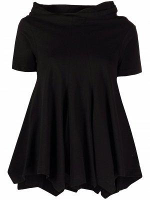 Расклешенная футболка с капюшоном Comme Des Garçons. Цвет: черный