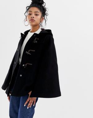 Полушерстяное пальто-кейп с пуговицами моржовый клык -Черный Gloverall