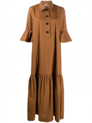 Длинное платье-рубашка Artemis La Doublej. Цвет: коричневый