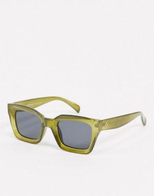 Оливково-зеленые солнцезащитные очки в квадратной оправе -Зеленый AJ Morgan