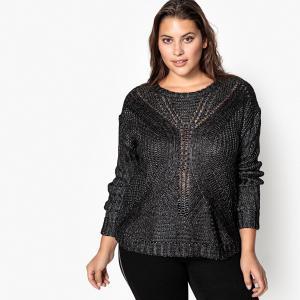 Пуловер с круглым вырезом из плотного трикотажа CASTALUNA. Цвет: серебристо-черный