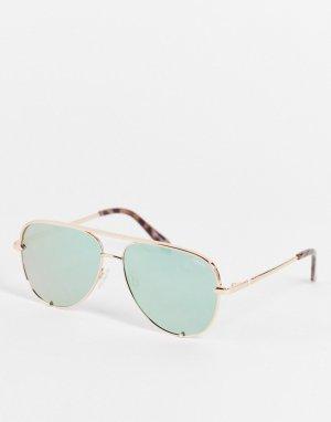Женские очки-авиаторы мини без оправы с дужками цвета розового золота и мятно-зелеными линзами Quay High Key-Золотистый Australia