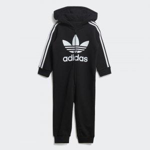 Комбинезон с капюшоном Trefoil Originals adidas. Цвет: черный