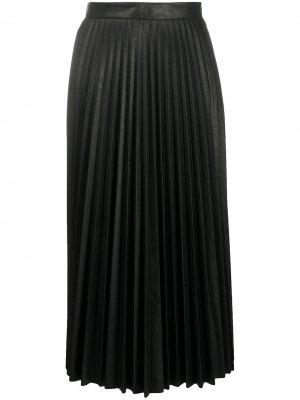 Плиссированная юбка миди MM6 Maison Margiela. Цвет: черный