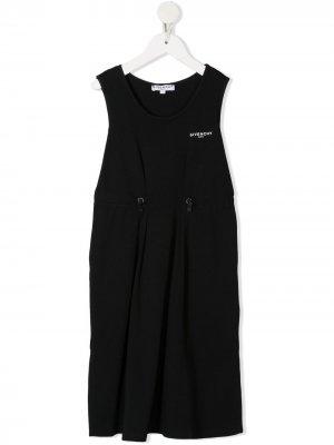 Платье-футболка с логотипом Givenchy Kids. Цвет: черный