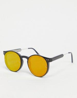 Черные круглые солнцезащитные очки унисекс с красными зеркальными линзами Post Punk-Черный Spitfire