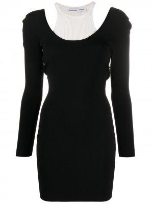 Многослойное платье-свитер T By Alexander Wang. Цвет: черный