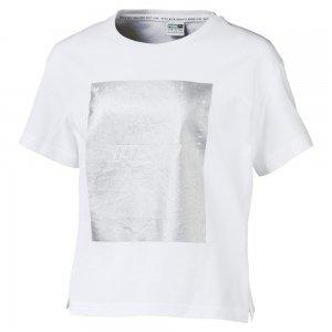 Детская футболка TZ Tee PUMA. Цвет: белый