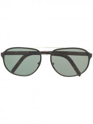 Солнцезащитные очки-авиаторы черепаховой расцветки Prada Eyewear. Цвет: золотистый