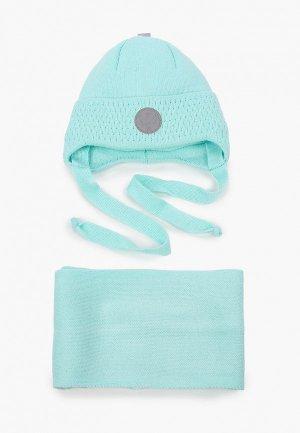 Шапка и шарф Prikinder. Цвет: бирюзовый