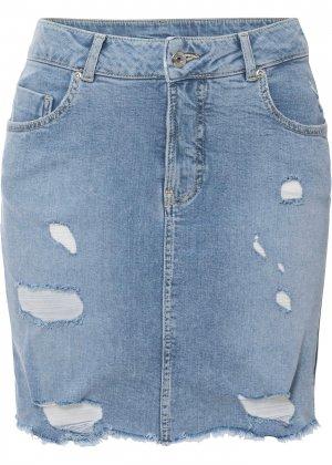 Юбка джинсовая из биохлопка bonprix. Цвет: синий