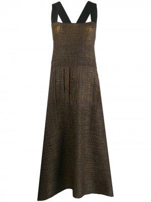 Расклешенное платье с жатым эффектом Pierantoniogaspari. Цвет: черный