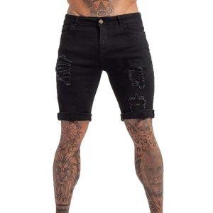 Мужские рваные джинсовые шорты SHEIN. Цвет: чёрный