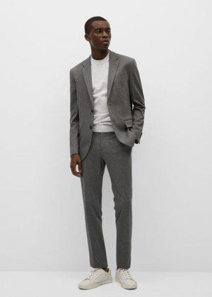 Костюмный пиджак slim-fit из хлопка - Fabreg Mango. Цвет: меланжевый светло-серый
