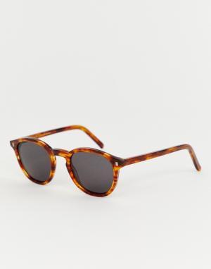 Солнцезащитные очки в круглой оправе янтарного цвета Nelson Monokel Eyewear. Цвет: коричневый