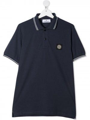 Рубашка поло с нашивкой-логотипом Stone Island Junior. Цвет: синий