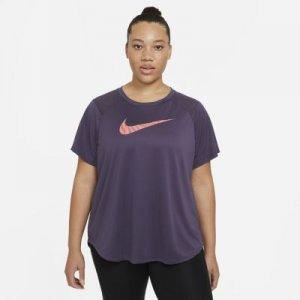 Женская беговая футболка с коротким рукавом Nike Run Icon Clash (большие размеры) - Пурпурный