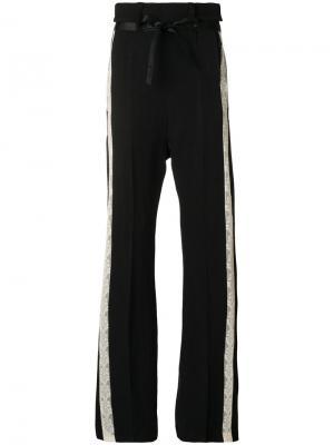 Расклешенные брюки Victoria с кружевными вставками Ann Demeulemeester. Цвет: черный