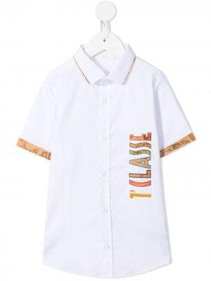 Рубашка с логотипом и контрастной окантовкой Alviero Martini Kids. Цвет: белый
