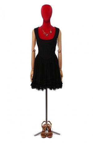 Платье из смеси хлопка и льна Givenchy. Цвет: черный