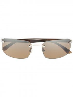 Солнцезащитные очки в безободковой оправе Cartier Eyewear. Цвет: зеленый