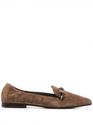 Лоферы со стразами и заостренным носком Brunello Cucinelli. Цвет: коричневый