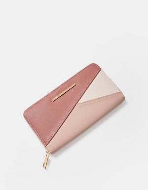 Бумажник с гравировкой в стиле пэтчворк ЖЕНСКАЯ КОЛЛЕКЦИЯ Цвет розового макияжа 103 Stradivarius