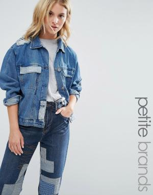 Джинсовая куртка в стиле пэтчворк Waven Petite. Цвет: синий