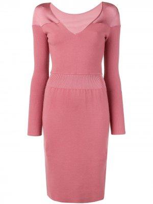 Трикотажное платье с V-образным вырезом Alaïa Pre-Owned. Цвет: розовый