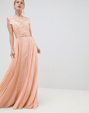 Платье макси из тюля -Оранжевый Jovani