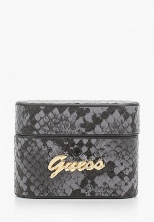 Чехол для наушников Guess Airpods Pro, Python PU leather case with metal logo Black. Цвет: серый