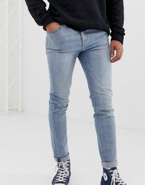 Синие выбеленные джинсы скинни -Голубой Cheap Monday