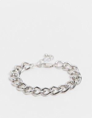 Серебристый браслет-цепочка Pieces