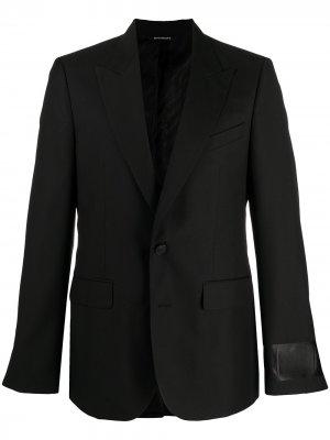 Однобортный пиджак с нашивкой-логотипом Givenchy. Цвет: черный
