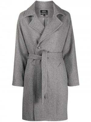 Двубортное пальто с запахом A.P.C.. Цвет: серый