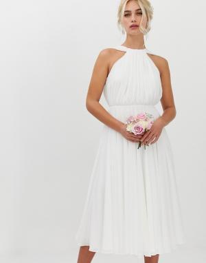 Свадебное платье миди с халтером и V-образным вырезом на спине -Белый ASOS EDITION