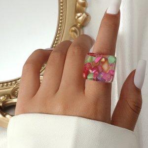Массивном кольцо минималистичный SHEIN. Цвет: многоцветный