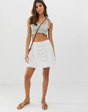 Ажурная мини-юбка на пуговицах -Белый ASOS DESIGN