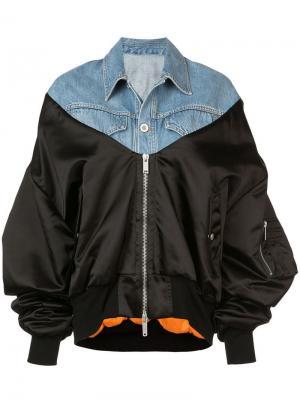 Куртка-бомбер с контрастными панелями Unravel Project. Цвет: синий